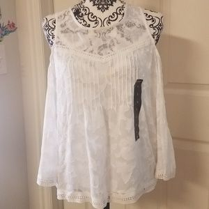 LUCKY BRAND Embroidered Boho Open Shoulder S BNWT
